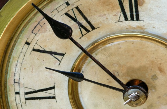 Antique grunge clock face with hands